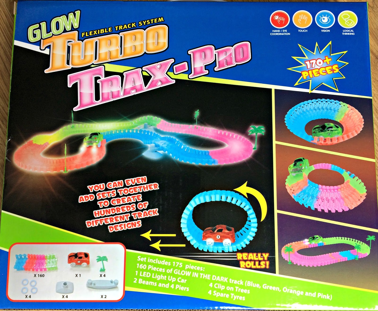 Turbo Trax-Pro box showing different track layouts