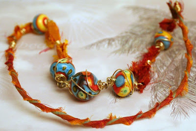 Summer heat: lampwork by Cherry Obsidia, brass wire, sari silk, wire-wrapping, ooak necklace :: All Pretty Things