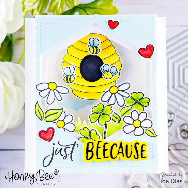 Honey Bee Spring Scene Pop-Up Shadow Box Card for Honey Bee Stamps by ilovedoingallthingscrafty.com