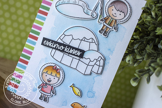 Sunny Studio Stamps: Eskimo Kisses Polar Playmates Winter Themed Watercolored Card by Eloise Blue