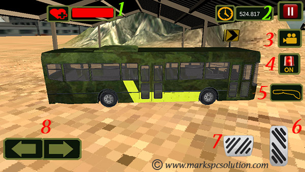 US Army Bus Game Control Options