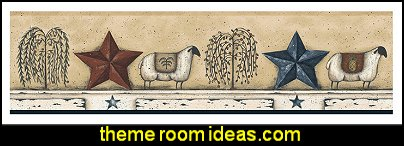 Best Of Country Sheep Star WALLPAPER Border   primitive americana decorating style - folk art - heartland decor - rustic Americana home decor - Colonial & Country style decorating Americana bedroom designs - Primitive Country Rustic decor