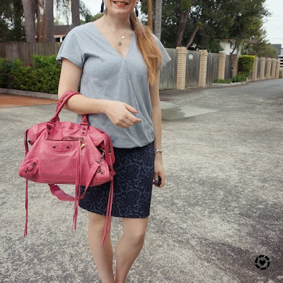awayfromtheblue Instagram jacquard pencil skirt grey wrap top and pink Balenciaga city bag