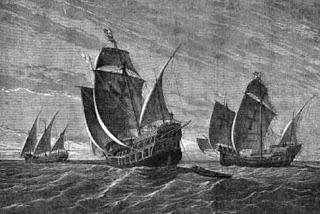 A carrack, caravel and other types of ships from the Middle Ages