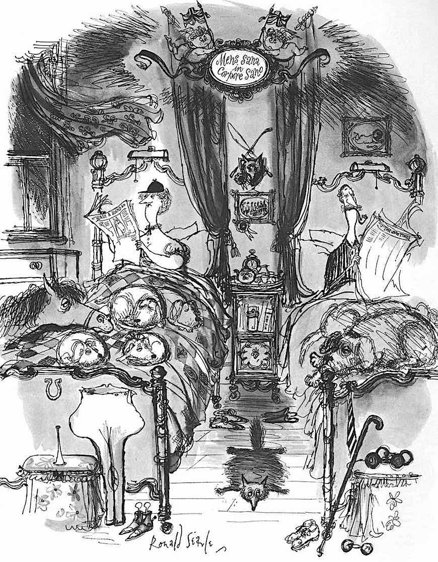 a Ronald Searle drawing of an upper class couple in bed