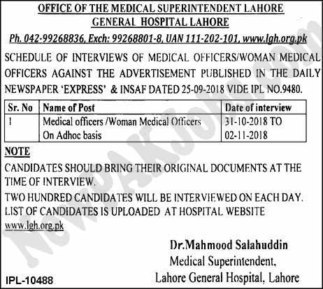 Interview Schedule,Result, General Hospital Lahore