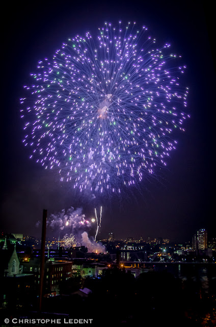 360 - Canada Day Fireworks as seen from an Apartment in Lowertown