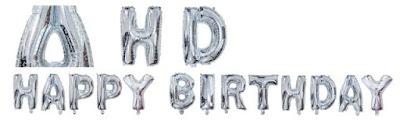 Balon Foil Happy Birthday Silver Motif
