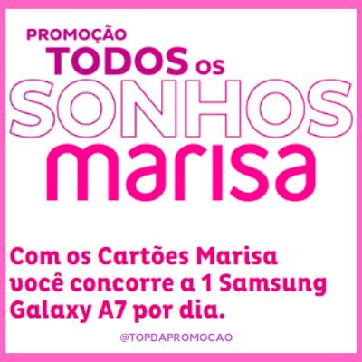Promoção Todos os sonhos Marisa. Na promoção 'Todos os sonhos Marisa', você concorre a 1 Samsung Galaxy A7 por dia. #VemProvar #Marisa #SamsungA7 #A7 #Topdapromocao #promoção #sorteio