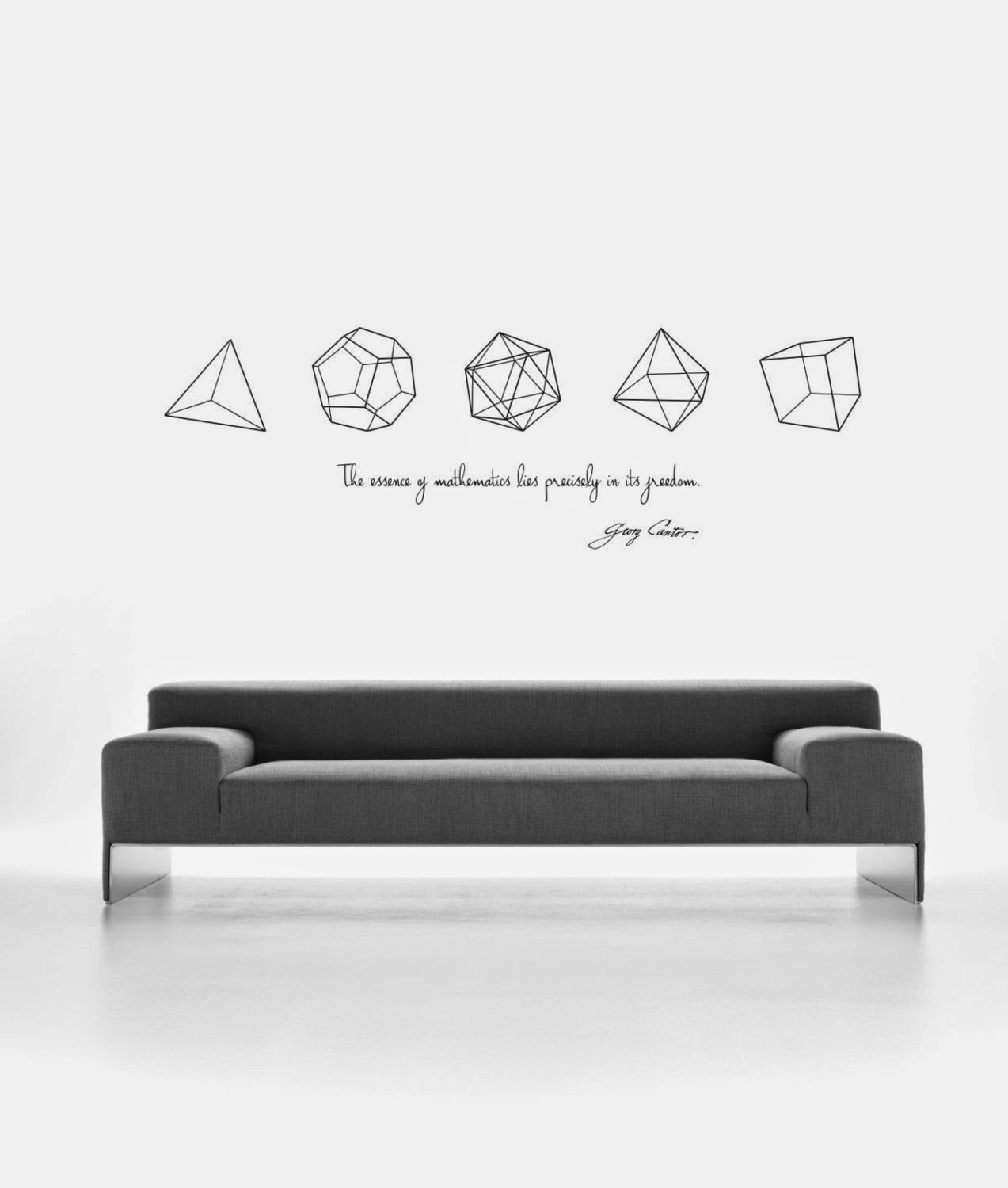 This design is one of my favorite science wall decals cantors quote on the essence of mathematics and the five platonic solids