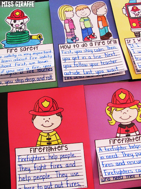 Fire safety writing activities for fire safety week and to celebrate what great community helpers firefighters are