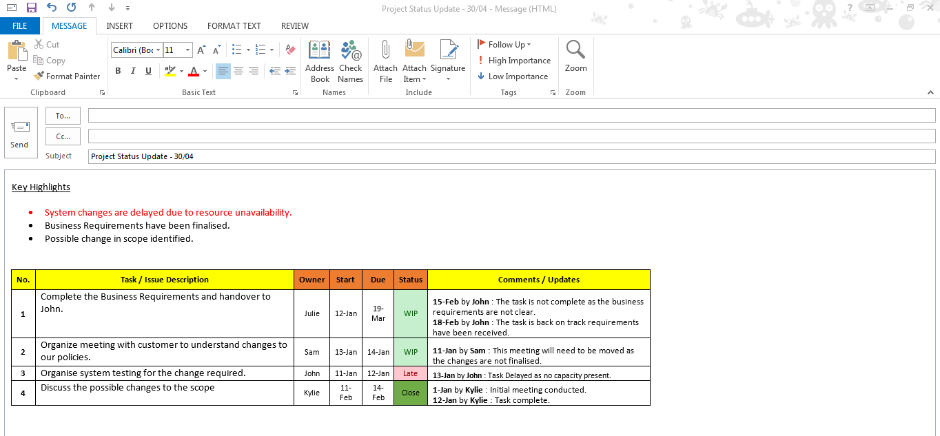 Excel task tracker template downloads 6 samples free for Project manager email templates