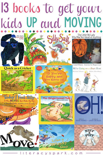 Looking for ways to engage and motivate your young readers?  Here are 13 picture books that will get early readers up, moving, and having fun while reading.   Simple, repetitive, and rhyming texts for emergent readers in pre-k, kindergarten, and first grade.