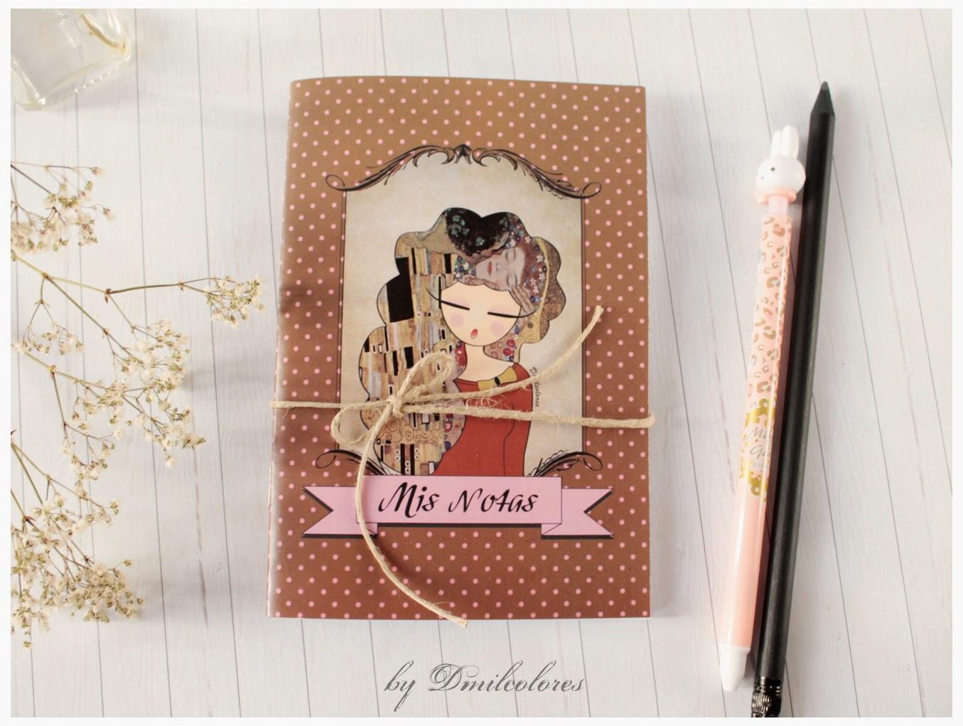 """Libreta ilustrada """"El beso de Klimt"""""""
