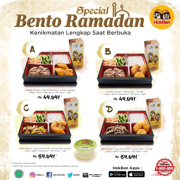 Daftar Harga Hokben Promo Bento Ramadhan 2018