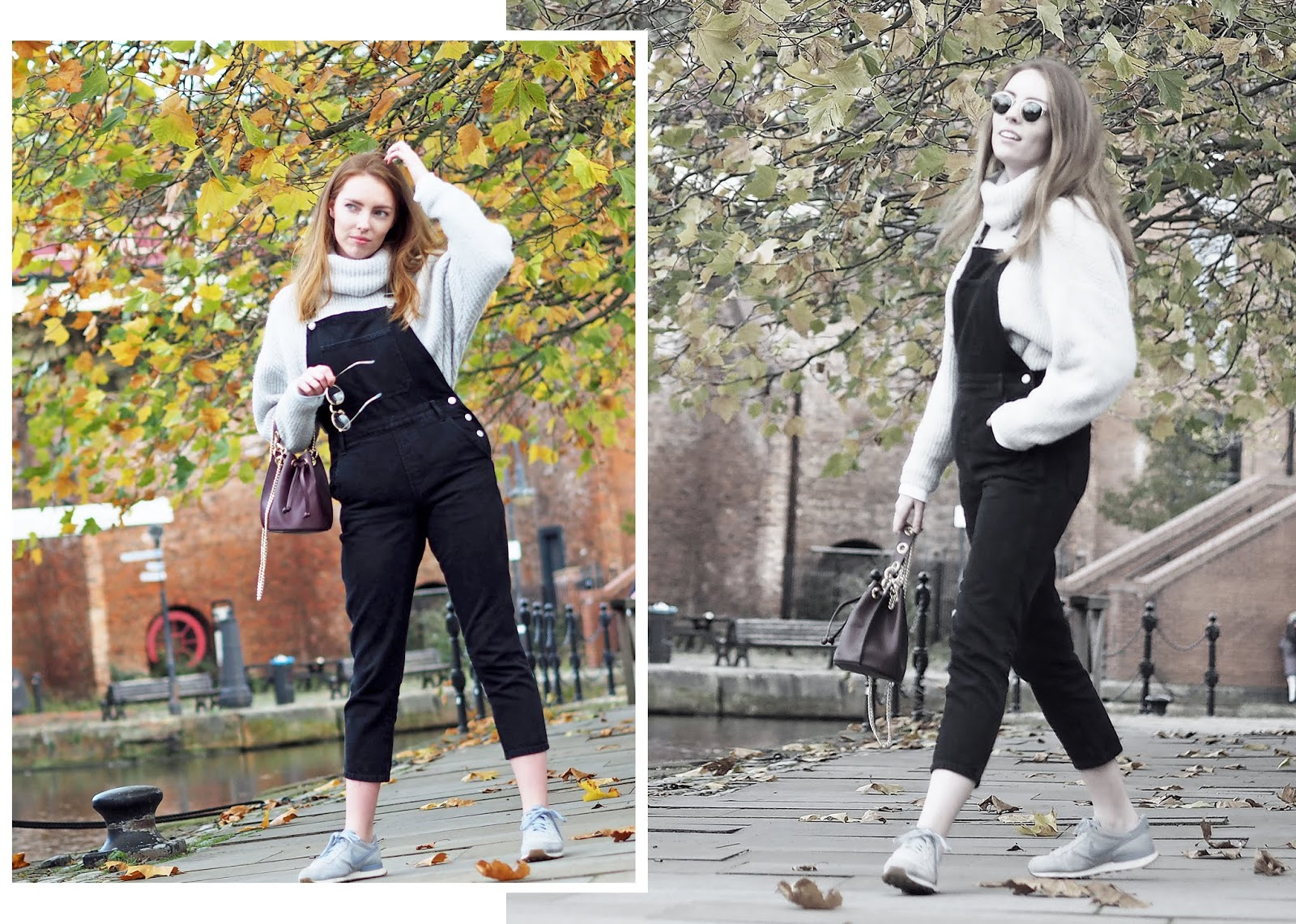 girl wearing topshop dungarees and nike internationalist