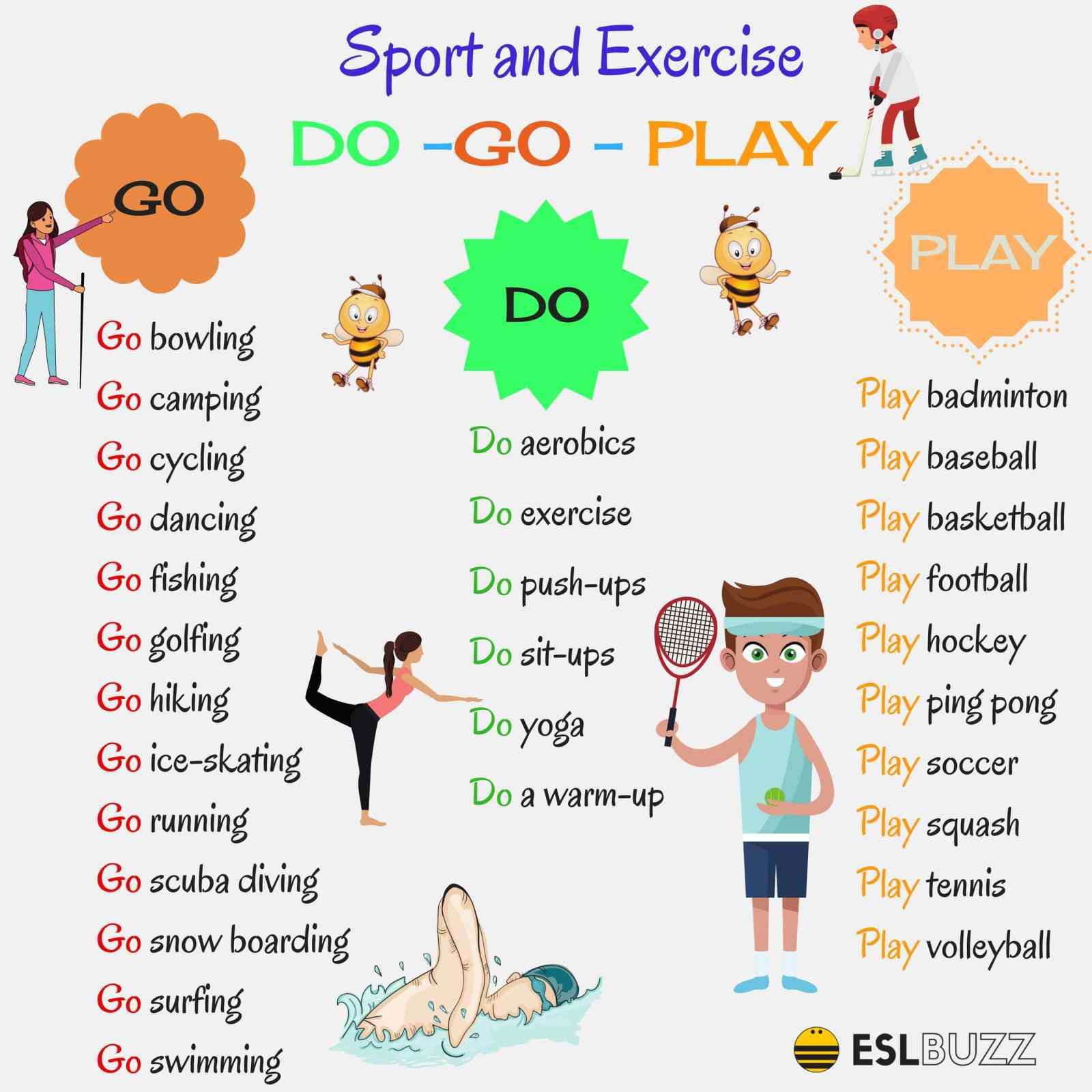 Click On Sports Verbs Go Do Or Play