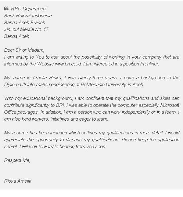 Contoh Surat Lamaran Kerja Dalam Bahasa Inggris Tulis Tangan