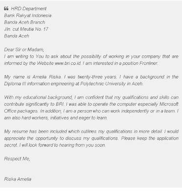 Surat Lamaran Kerja Bahasa Inggris untuk BANK