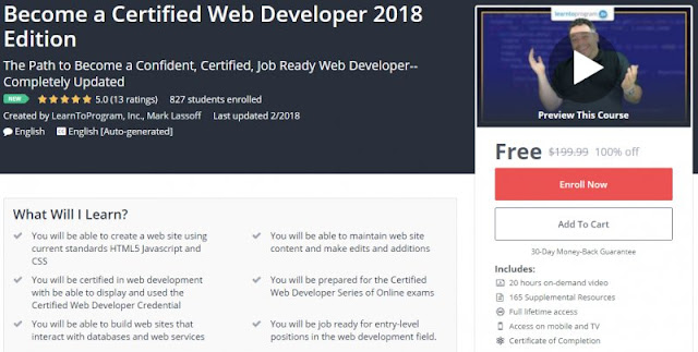 [100% Off] Become a Certified Web Developer 2018 Edition| Worth 199,99$