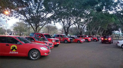 Jubilee red cars parked at Jubilee offices. PHOTO | Courtesy Capital FM