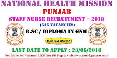 National Health Mission Punjab Staff Nurse (545 Vacancies) Recruitment – 2018