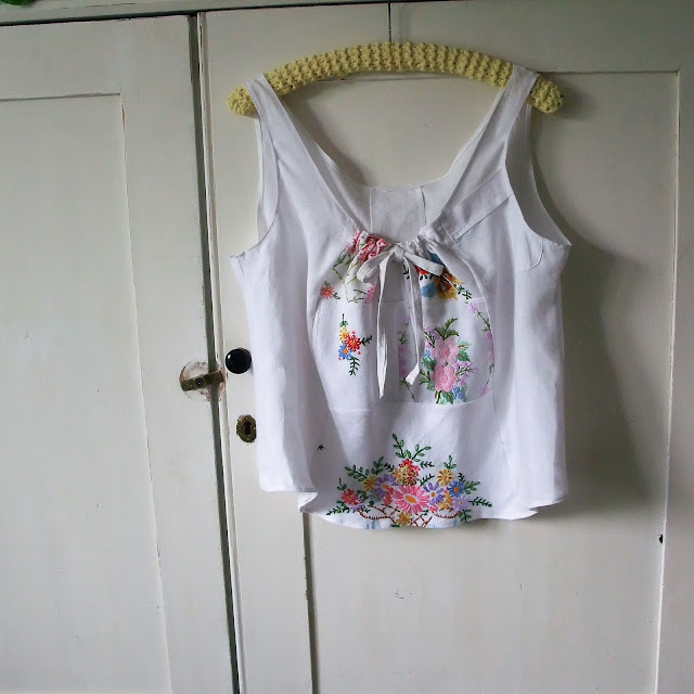 embroidered vintage linens camisole top by karen vallerius