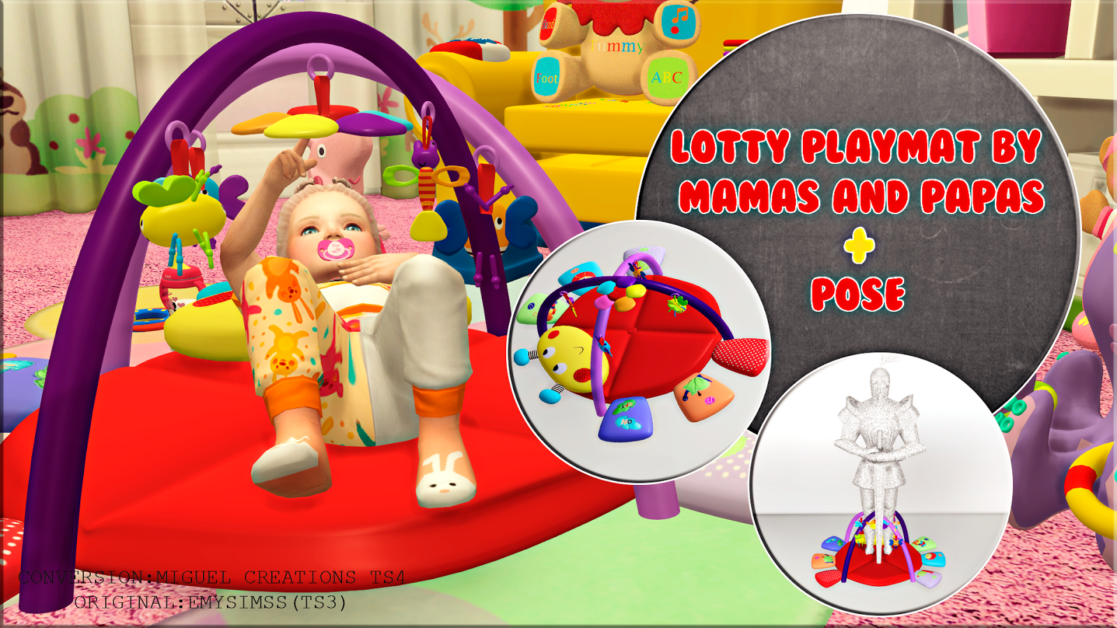 Miguel Creations TS4: Lotty playmat by mamas and papas + Pose
