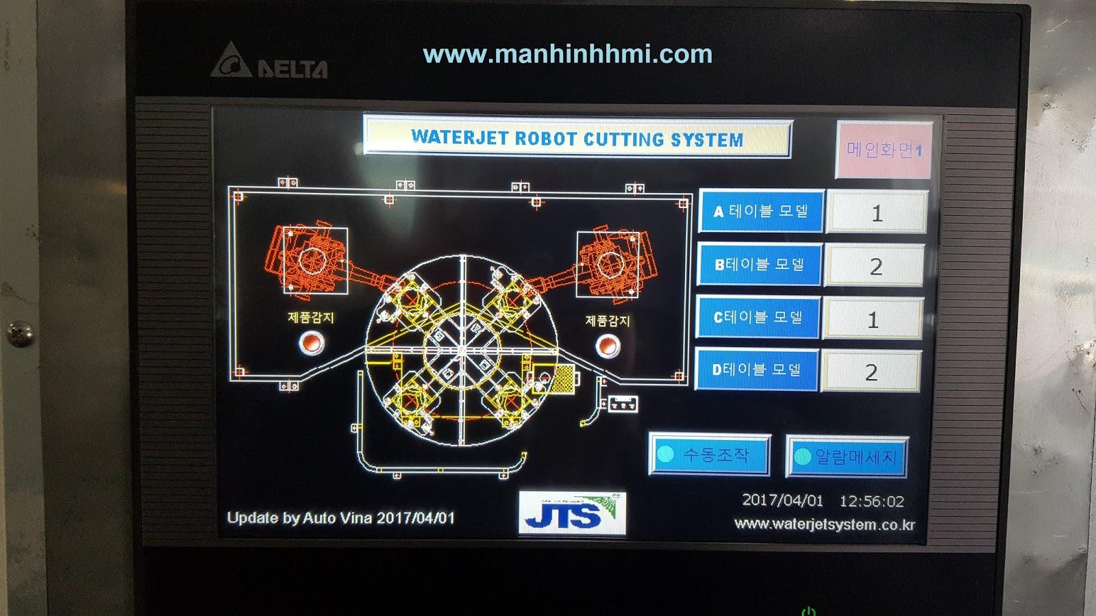 Màn hình cảm ứng Delta DOP-B10S411 được lập trình mới trong hệ tủ điện phụ trợ cho Robot ABB