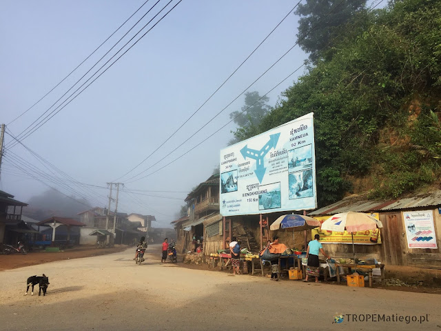 The main intersection in Kohing, Laos