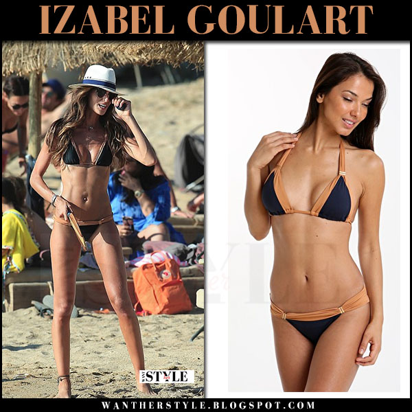 Izabel Goulart in black two tone bikini vix swimwear beach Mykonos what she wore july 10 2017