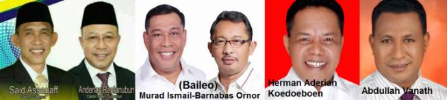 Tiga pasangan calon gubernur dan wakil gubernur Propinsi Maluku 2018