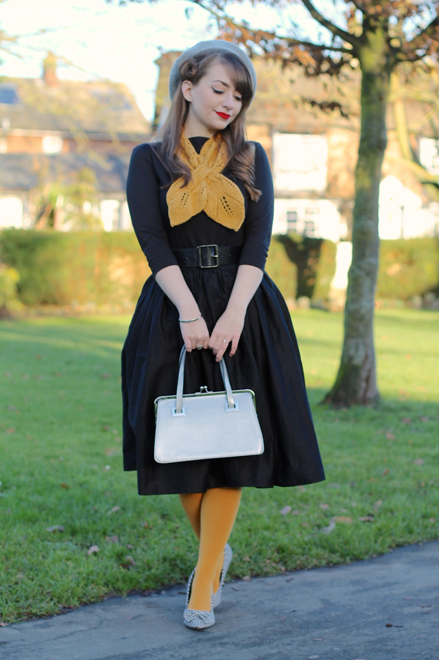 Vivien of Holloway slash neck top with Collectif Jasmine skirt and Lindy Bop houndstooth shoes