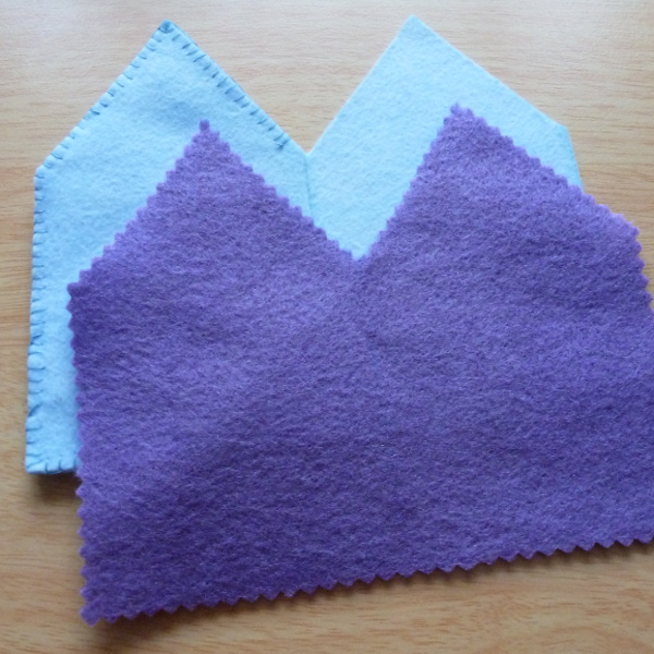 Adding in purple felt pages to the handmade needlecase