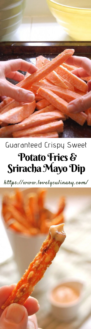 Guaranteed Crispy Sweet Potato Fries & Sriracha Mayo Dip #healthymeal #dietsnack