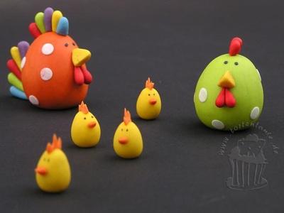 Aquí  pollitos de Pascua  modelado