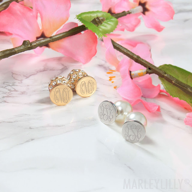gold and silver monogrammed earrings