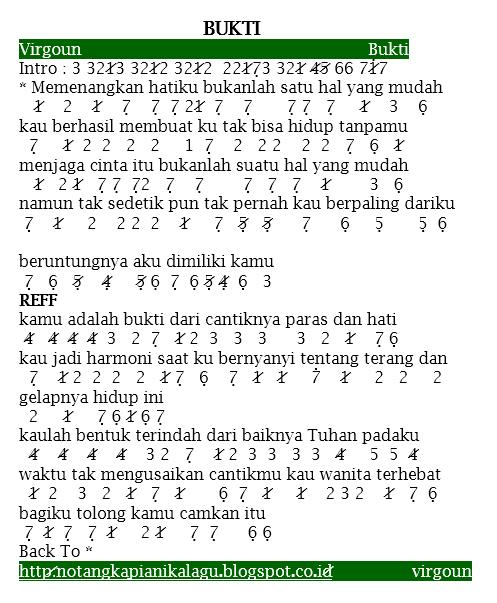 Not Angka Pianika Lagu Bukti by Virgoun Terbaru!, Ntapz!!!