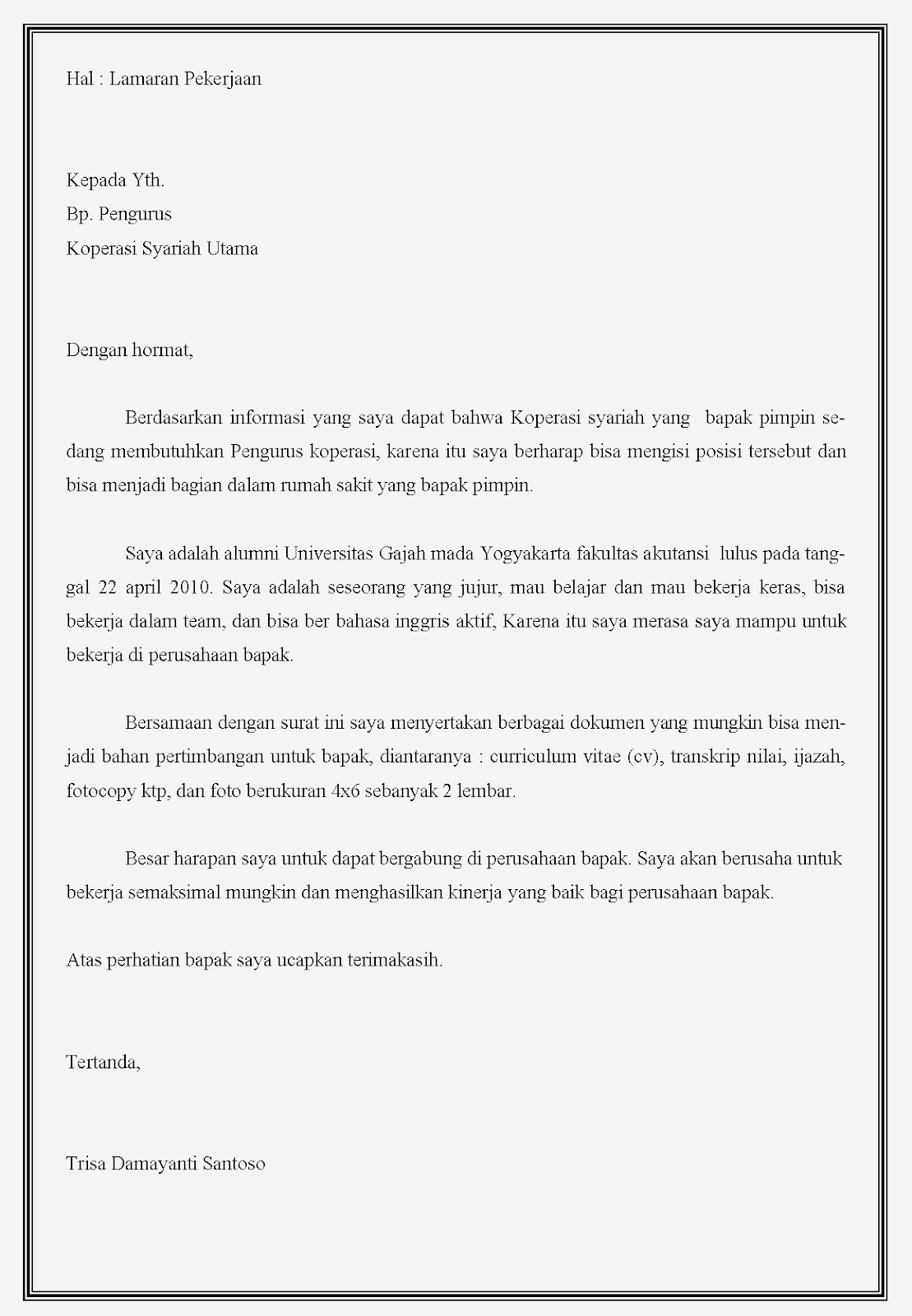 Contoh surat lamaran kerja koperasi Syariah
