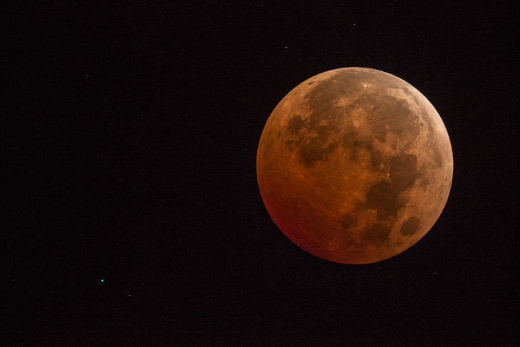 Uranus And Eclipsed Moon on October 8, 2014