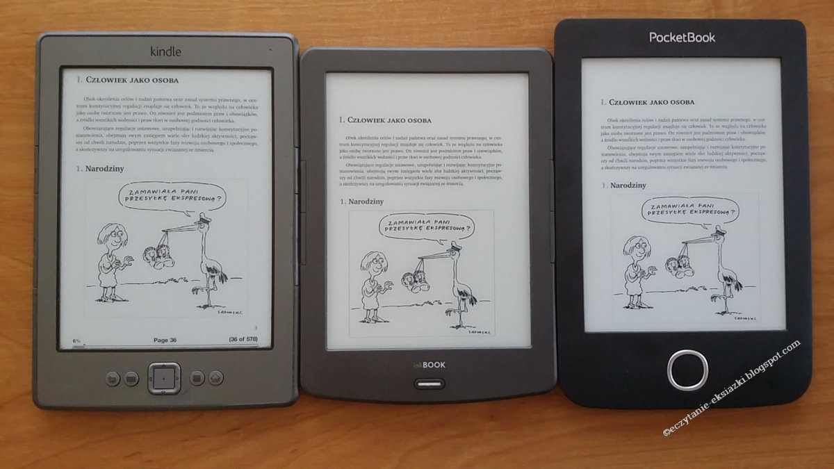 Kindle Classic, InkBOOK Classic 2 i PocketBook Basic 3 obok siebie
