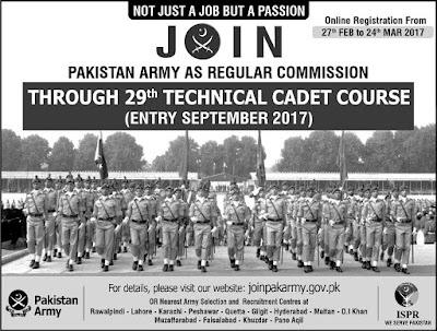Pak Army Technical Cadet Course (TCC), Pak Army TCC