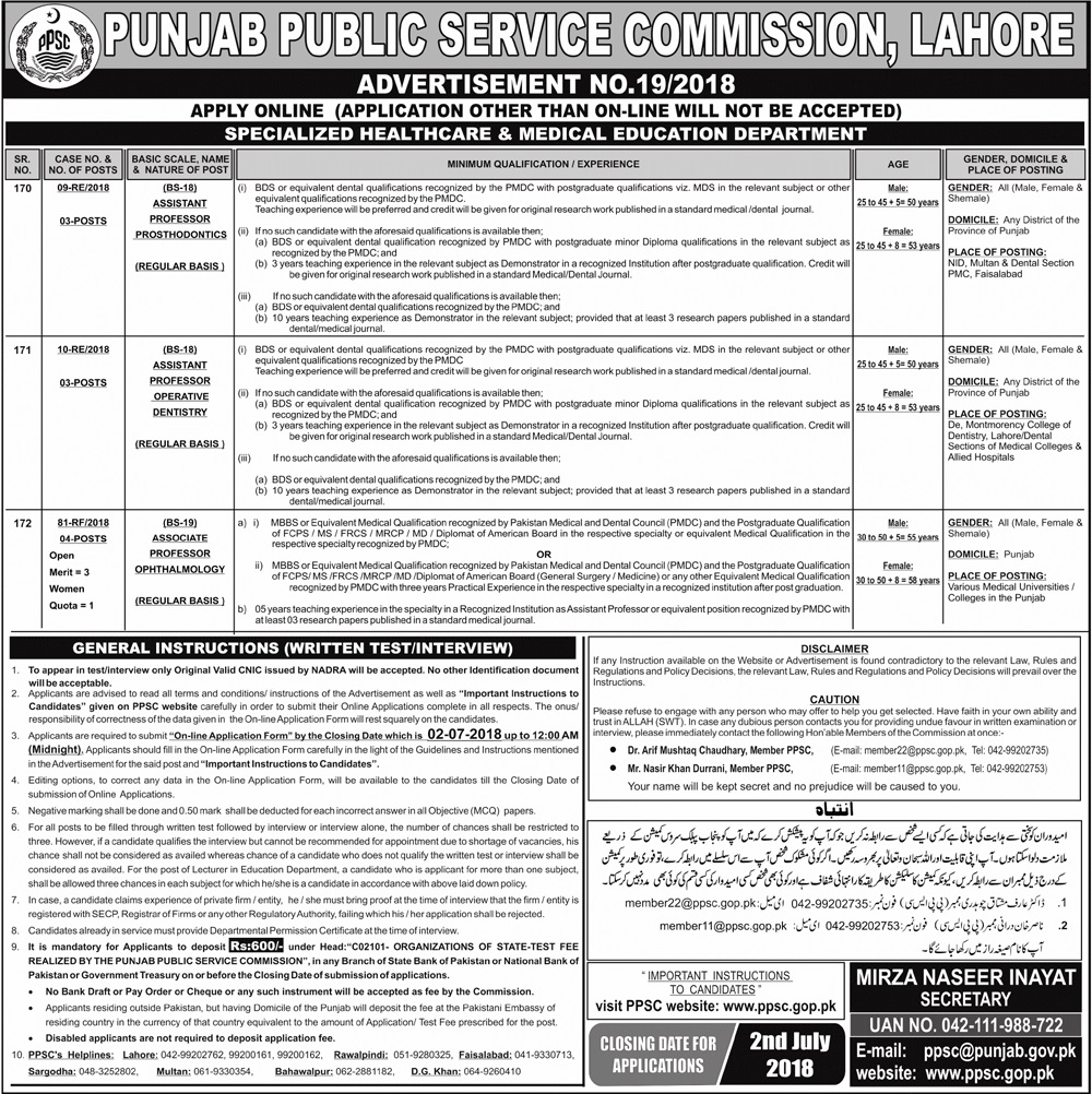 ppsc-medical-jobs-june-2018