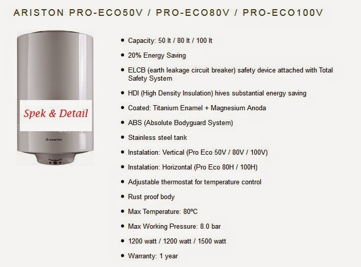 spek harga water heater pro eco 80 v h ariston