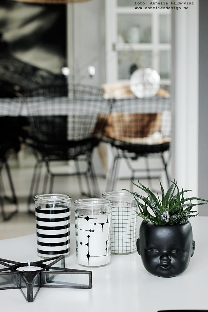 ljus i grafiska glas, ljus, stearinljus, ljuslykta, ljuslyktor, annelies design, inredning, webbutik, webbutiker, webshop, inredningsdetaljer, vardagsrum, vardagasrummet, svart och vitt, svartvit, svartvita, ljushållare,