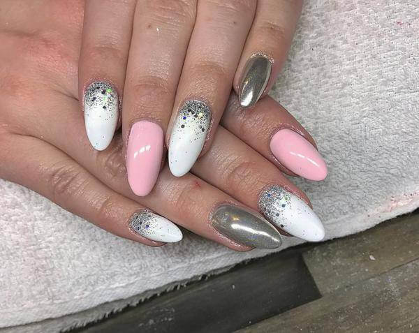 silver, Reindeer Nail Art