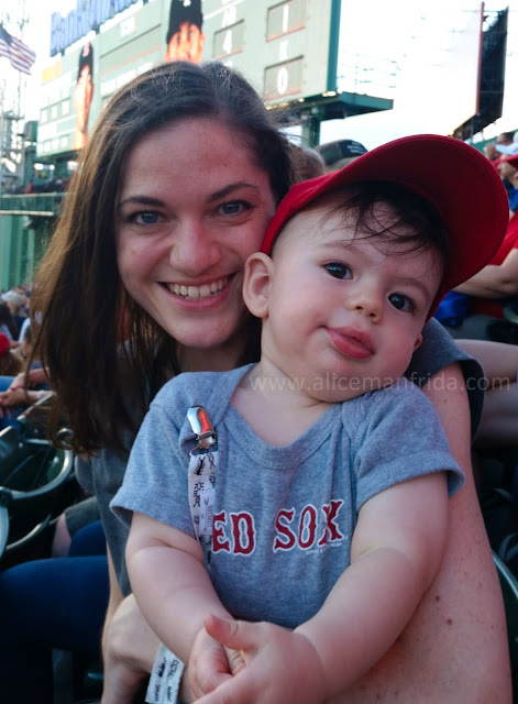 Baby's First Baseball Game, Fenway Park, Boston, baseball game, Red Sox Game, mom and baby, Alice Manfrida
