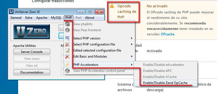 El módulo Opcode caching de PHP