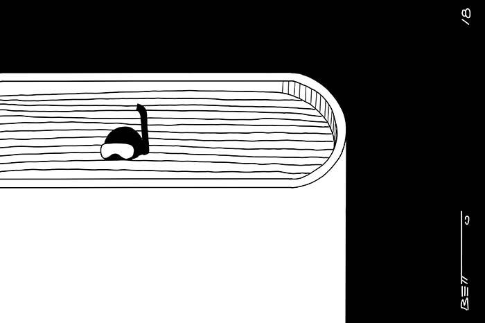 Líneas y Letras. Libros, viñeta de humor gráfico por Betto