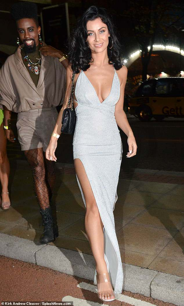 Love Island star Cally Jane Beech  flashes some skin as she parties with pals in Manchester